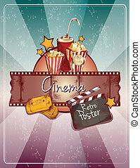 Sketch cinema poster - Colored cinema retro poster with ...