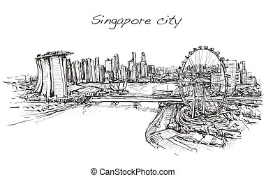 sketch city scape, of Singapore skyline, free hand draw illustration vector