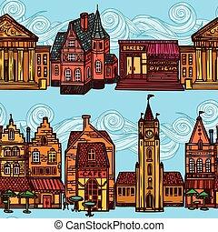 Sketch city seamless border