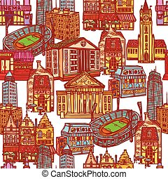 Sketch city seamless pattern