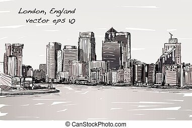 sketch cityscape of London, England, show skyline and...