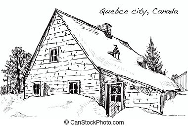 sketch cityscape of Quebec, Canada show tree, snow and houses along the road, free hand draw illustration vector