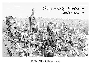 Sketch cityscape of Saigon city ( Ho Chi Mihn ) Vietnam show...