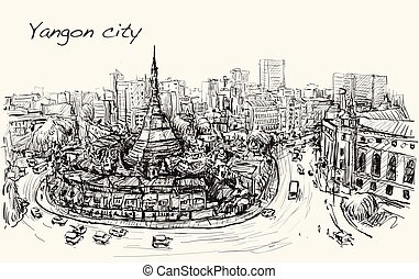 sketch cityscape of Yangon, Myanmar on topview Shwedagon...