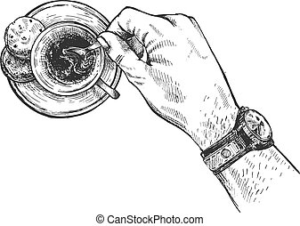 Sketch coffee cup in casual male hand