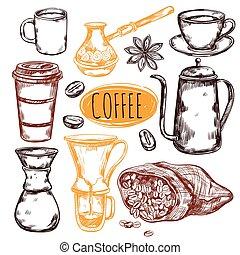 Sketch Coffee Icon Set