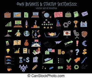 Sketch Colored Business Startup Elements Set