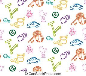 Sketch Colored Children Toys Seamless Pattern