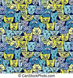 Sketch colorful cat pattern