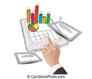 sketch computer tablet showing a spreadsheet with  charts