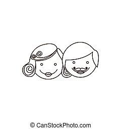 sketch contour cartoon parent faces