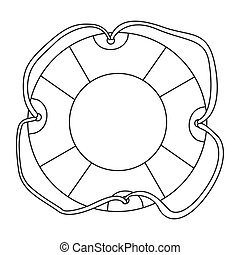 sketch contour flotation hoop with rope vector illustration