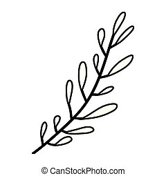 sketch contour of hand drawing leaf oval shape with several ramifications