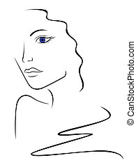 Sketch contour of woman head, hand drawing vector ...