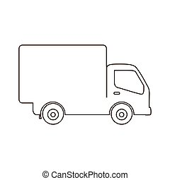 sketch contour transport truck with wagon icon flat
