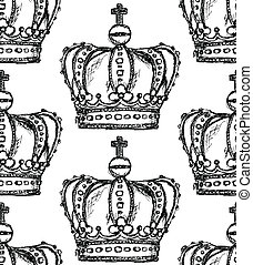 Sketch crown, vector vintage seamless pattern