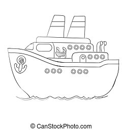 sketch, cruise ship, coloring book, cartoon illustration, isolated object on white background, vector,