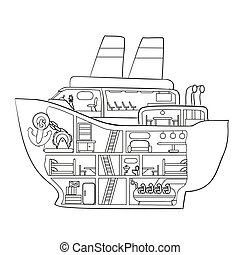 sketch, cruise ship inside, coloring book, caricature, isolated object on a white background, vector,