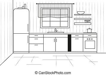 Sketch cuisine. Plan kitchen. Vector illustration