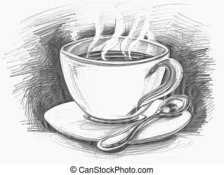 sketch cup of coffee or tea