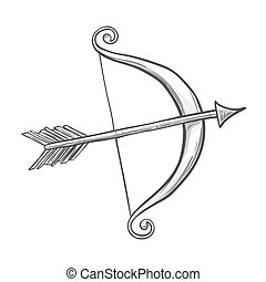 Monochrome sketch style illustration of Cupid bow and arrow, symbol of love and Valentine's Day. Vector.