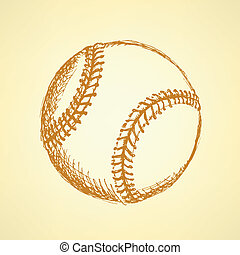 Sketch Cute Baseball Ball Vector Background