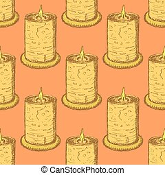 Sketch cute candle in vintage style, vector seamless pattern