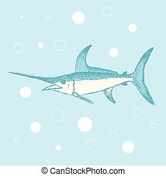 Sketch cute swordfish in vintage style