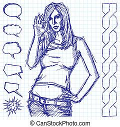 Sketch Cute Woman Shows OK