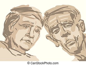 Sketch depicting two faces of old people in brown