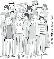 Sketch Design Crowd Vintage Clothes