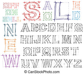 Sketch design hand drawn alphabet. Vector
