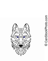 Sketch design of head wolf