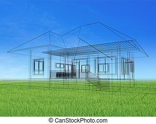 sketch design of house on landscape