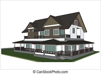 sketch design of house,vecto