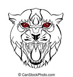 Sketch design of illustration head tiger