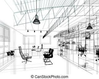 sketch design of interior working room,3d rendering