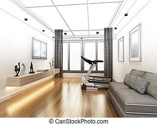 sketch design of living room ,3d rendering