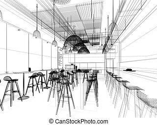 sketch design of resturant ,3d wire frame render