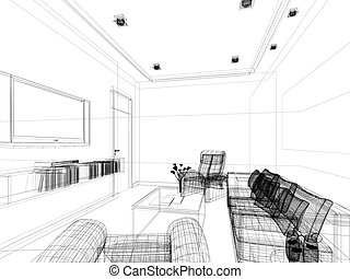 sketch design of sitting room - sketch design of interior...