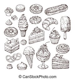Sketch dessert. Cake, pastry and ice cream, apple strudel and muffin in vintage engraving style. Hand drawn fruit desserts vector set