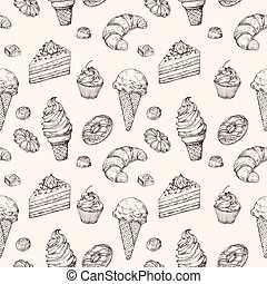 Sketch dessert seamless background. Cakes sweets cupcake and ice cream hand drawn vector wrapping texture