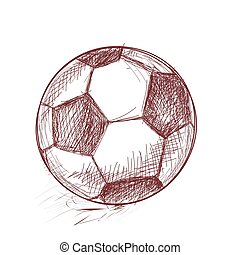 sketch., dibujo, vector., deportes, football., mano., ...