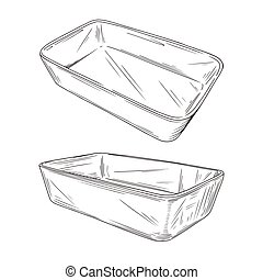 Sketch different types of baking pans isolated on white background. Vector