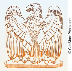 drawing of heraldic sculpture eagle in Rome, Italy