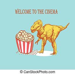 Sketch dinosaur and popcorn in vintage style, vector