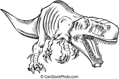 Sketch Dinosaur T-Rex Vector
