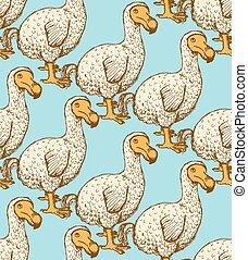 Sketch dodo bird in vintage style, vector seamless pattern