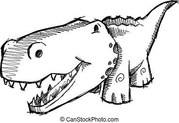 Sketch Doodle Alligator Vector