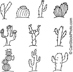 Sketch Doodle cactus black outline on a white background, set of cacti in the desert